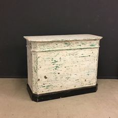 French antique wooden shop counter with distressed patina