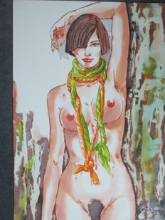 "Balzano, Birago - Original drawing, ""Pin-up sexy"""