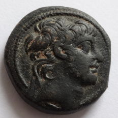 Greek Antiquity ; Syria , Antiochos X Eusebes Philopator  ca . 94 - 88 BC , Antioch , AE 20 m/m , 8,41 g , VERY RARE