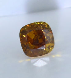 0.66 ct. Square Cushion Modified Brilliant Natural Diamond -  Fancy Brownish yellow - VS 2