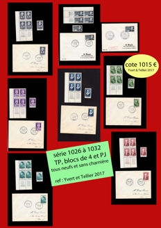 France 1955 - French celebrities series in stamps and early days - Yvert 1026 to 1032