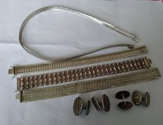 Silver necklace, 3 silver bracelets, 2 sets of cufflinks - everything in 835 silver