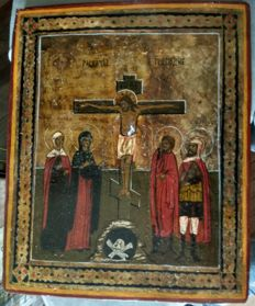 Russian icon (late 19th) - The Crucifixion (30,7 x 25,5 cm)
