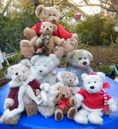 Collection 9 beautiful teddies / Christmas and Winter teddies: Bukowski Design, Boyds, Sunkid, Landart, Bob der Bär, Kuenen - Germany, Sweden, USA