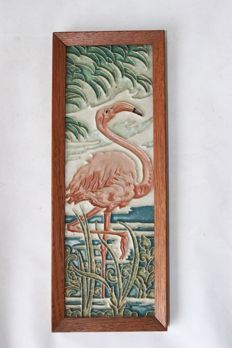 L. E. F. Bodart (1888-1933) for De Porceleyne Fles - Earthenware tile with a cloisonne depiction of a flamingo