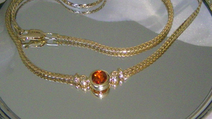 Necklace collier real zircon + brilliants 14 kt gold