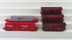 Mehano H0 - T615 30162/T216 58789/58812 - Set of five container wagons and self-discharging wagons of DB Cargo