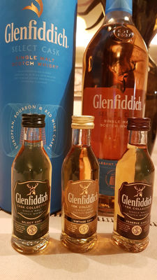 Glenfiddich select cask travel exclusive 1 Litre + Glenfiddich Mix Pack 3x50ml.