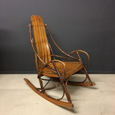 One of a kind Adirondack rocking chair from USA 1920s Rare Item