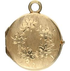 14 kt - yellow gold, can be opened, decorated pendant - diameter: 2.1 cm