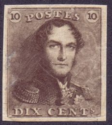 Belgium 1849 - Recuperated first stamp Leopold I 10 ct Brown - OBP 1