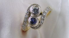 Diamond sapphire ring Art Nouveau in 14 karat gold