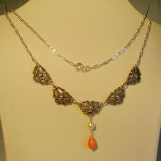 Antique necklace with angel skin coral droplets and white Akoya pearls