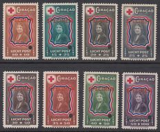 "Curaçao  1944 - Red Cross - NVPH LP45/LP52 with overprint ""SPECIMEN"" and perforation hole"