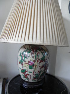 Porcelain Nanking vase made into a lamp - China - approx. 1900
