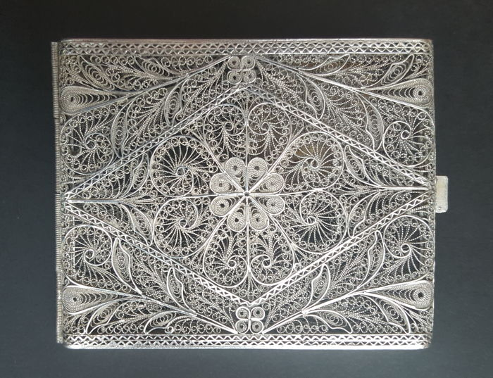 Antique Silver 900 filigree Cigarette case or card holder 77.7 grams