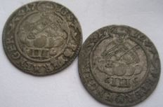 Germany, Bishopric of Trier - Karl von Lothringen, 1711-1715 3 Petermenger 1712 and 1713 (2 coins)