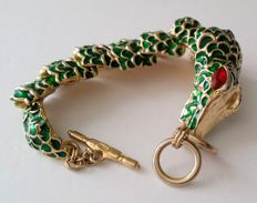 Early KJL Kenneth Jay Lane Articulated Alligator Bracelet