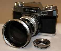 CONTAFLEX SUPER B + TESSAR 2.8/50 mm + PRO-TESSAR 4/115 + TRANSPORT CASE - 1963/1968