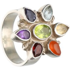 925/1000 - Silver ring set with, i.a, aquamarine, carnelian and amethyst - Ring size: 18.5 mm