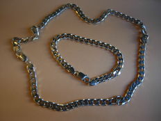 Men's 925 silver chain and bracelet, length 53 cm and 21 cm