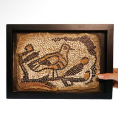 Roman Marble and Stone Mosaic Panel with Bird on Tree Branch, 28 cm. L. excl. frame