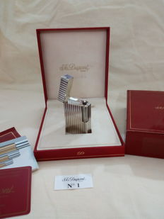 S.T. Dupont Paris silver plated lighter, diamond tip finish, includes case, box and papers - NEW