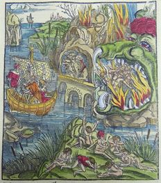 Inunabula woodcut on folio leaf, continental velin - Jaws of Death: Sea of Mourning, Hell, Monsters, Underworld - 1529