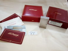 S.T.Dupont Paris silver plated lighter, diamond tip finish, includes case, box and papers - NEW