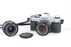 Canon AE-1 with standard lens and wide-angle lens, circa 1976