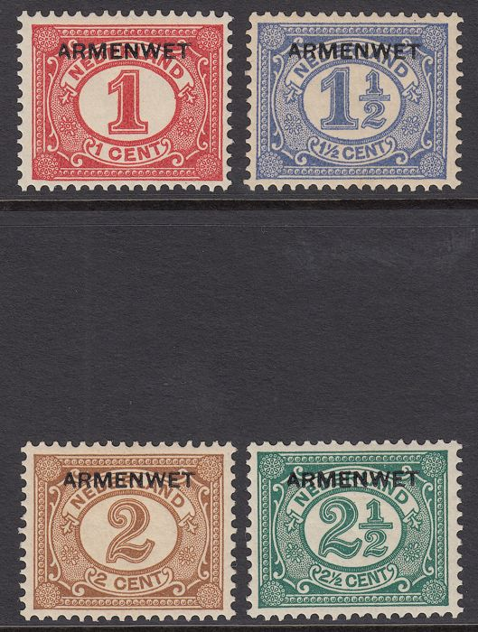 The Netherlands 1913 - Poor's Law, with overprint deviation NVPH D1f, D2f, D3f and D4f