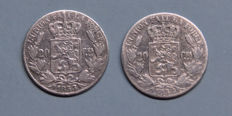 Belgium - 20 centimes 1852 and 1853 Leopold L - silver