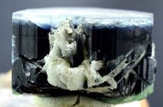 Double Terminated & Undamaged Blue Cap Bi-color Tourmaline Crystal With Cleavelandite  - 42*28*26 mm - 95 gm