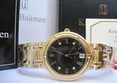 Krug Baümen Charleston 4 Diamond Black Dial Gold Strap 5118DM-New