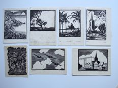 7 woodcuts by J.G. Veldheer, Jac. Gazenbeek and D. Riegen