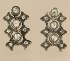 Silver ear studs with gold pins set with rose cut diamonds in total approx. 1.00 carat size 2.0 cm x 1.2 cm wide