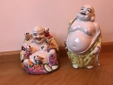 Two porcelain Happy Buddhas - China - late 20th century
