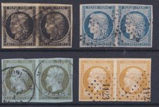 France 1849–1860 - Yvert 3, 4, 11 and 13A in pairs