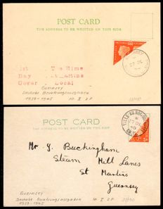 German Occupation II WW– 1940 – Guernsey, Free postal stamps of England diagonally halved on postal cards, Michel I / II