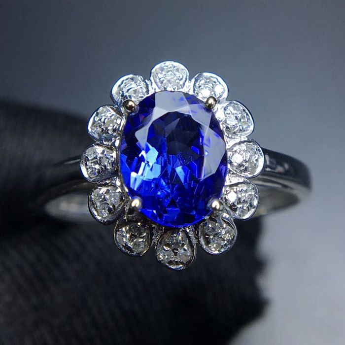 1.10 Carat Tanzanite Ring In 18K Solid White Gold with Diamond; Ring Size: 7.5US - Free Resizing