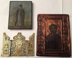 Triptych with St. Nicholas, 18th / 19th centuries - Basil the Great, late 19th century - Pantocrator and the tweleve Apostles, 20th century