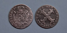 Austrian Netherlands, Antwerp - Escalin 1750 and 5 Stuiver 1753 Maria-Theresia - silver
