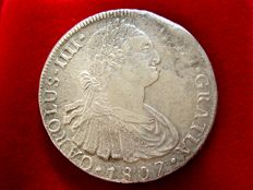 Spain - Carlos IV (1788–1808) - 8 reales silver coin - 1807 - Lima. J·P