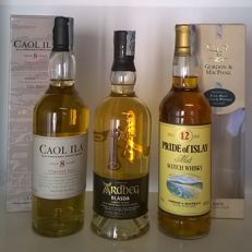 3 bottles - Caol Ila 'Unpeated Style' 8 y.o. Cask Strength (bottled in 2006 - first release) / Ardbeg 'Blasda' (lightly peated) / Gordon & MacPhail 'Pride of Islay' 12 y.o. blended malt (discontinued) - 3 bottles in total