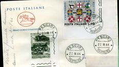Italy, Republic, 1966 – 100th anniversary of the annexation of Veneto, Mantova and Battle of Bezzecca, stamped vefore its issue, two values on FDC envelope.