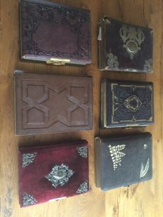 6 old photograph albums