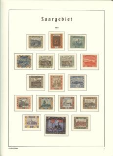 Saar region - 1920 - 1934 - advanced collection with Michel numbers 1-17, Volkshilfe and official stamps on Leuchtturm album pages