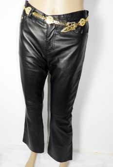 Versace - new leather trousers with gold vintage belt