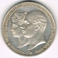 German Empire, Mecklenburg-Schwerin - Friedrich Franz IV., 1897-1918 2 Mark 1904 A on his Wedding with Alexandra von Braunschweig-Lüneburg - silver