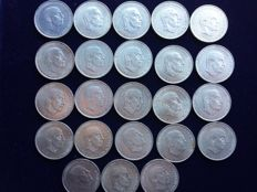 Spain - 100 silver pesetas, Franco - 23 pieces